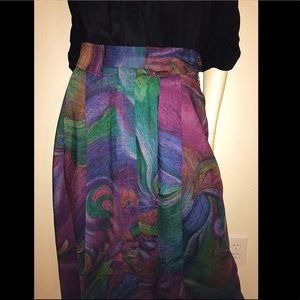 70s GEIGER Collection Skirt, Colorful Wool Midi